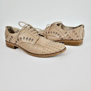 Sam Edelman Loafers Sz 8.5M Beige Leather Studded